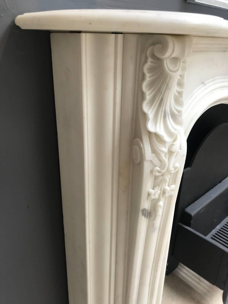 Statuary Marble 19th Century Regency Statuary White Marble Fireplace Chimneypiece For Sale
