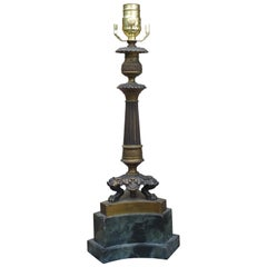 19th Century Regency Style Candlestick Lamp on Faux Marble Base