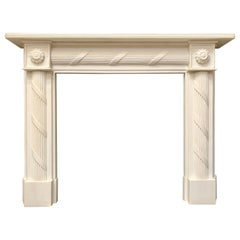 19th Century Regency Style Carved Statuary Marble Fireplace Surround