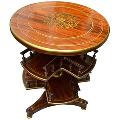 19th Century Regency Style English Library Book/CD Storage Carousel Table