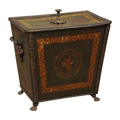 19th Century Regency Style Green Painted Coal Hod with Gilt Decoration
