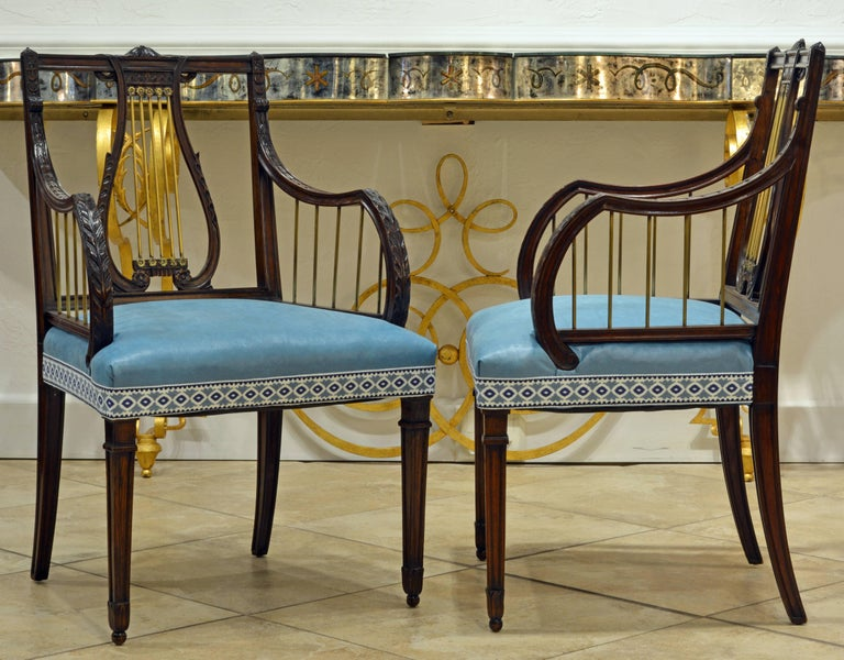 English 19th Century Regency Style Lyre Back Carved and Bronze Accented Armchairs, Pair For Sale
