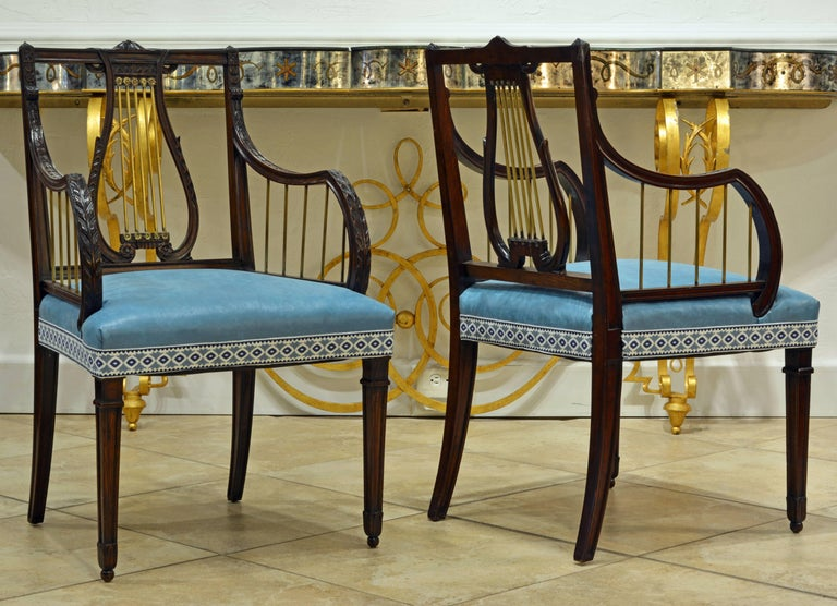 19th Century Regency Style Lyre Back Carved and Bronze Accented Armchairs, Pair In Good Condition For Sale In Ft. Lauderdale, FL