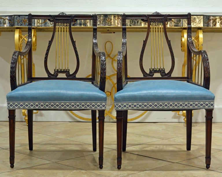 Upholstery 19th Century Regency Style Lyre Back Carved and Bronze Accented Armchairs, Pair For Sale