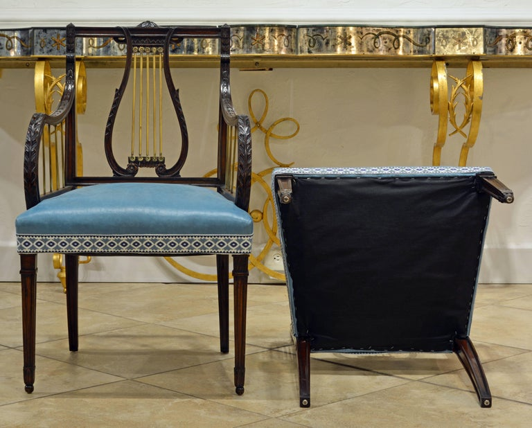19th Century Regency Style Lyre Back Carved and Bronze Accented Armchairs, Pair For Sale 1