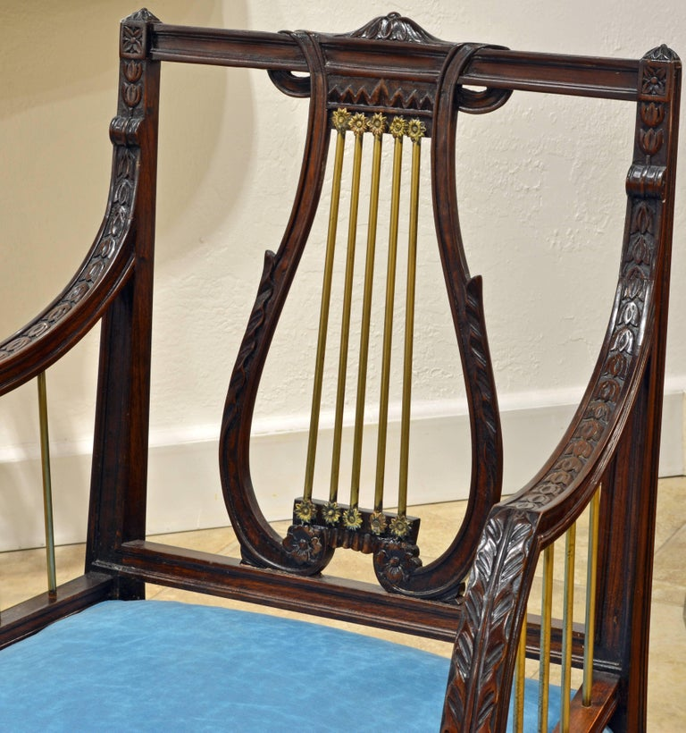 19th Century Regency Style Lyre Back Carved and Bronze Accented Armchairs, Pair For Sale 2