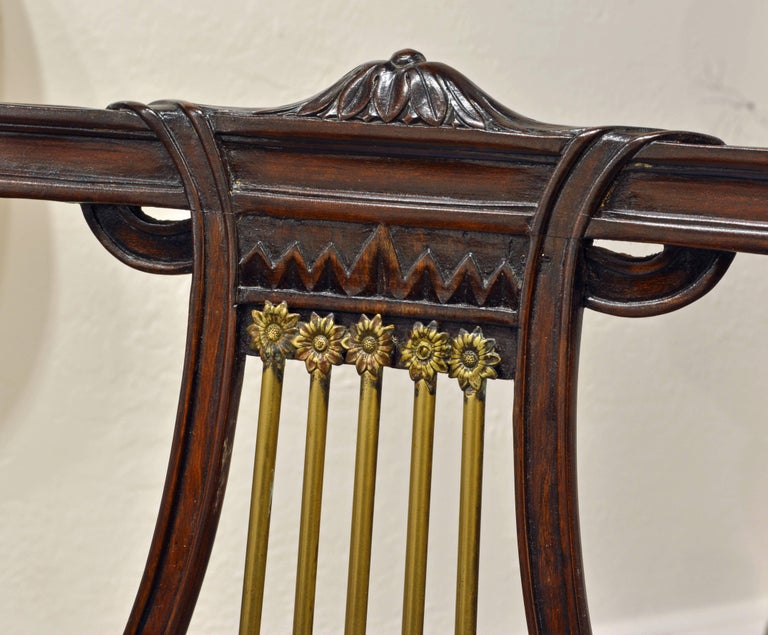 19th Century Regency Style Lyre Back Carved and Bronze Accented Armchairs, Pair For Sale 3