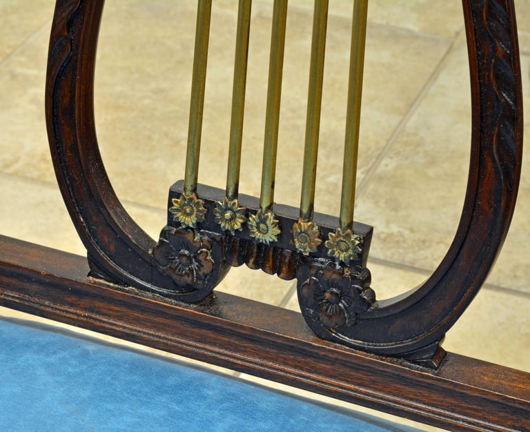 19th Century Regency Style Lyre Back Carved and Bronze Accented Armchairs, Pair For Sale 4