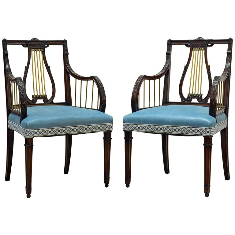 19th Century Regency Style Lyre Back Carved and Bronze Accented Armchairs, Pair For Sale