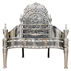 19th Century Regency Style Polished Steel Fire Grate Basket