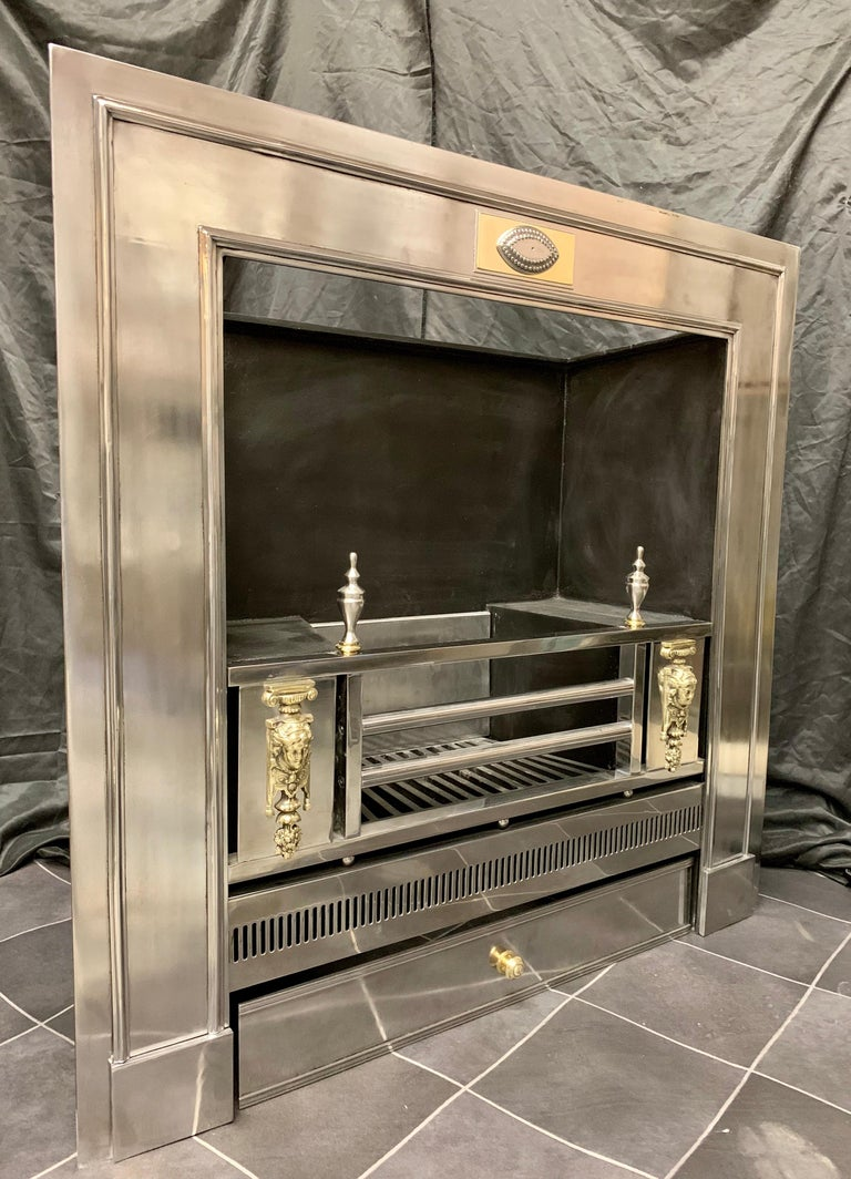 A remarkable 19th century Regency style polished steel fireplace insert. A framed outer plate with applied beading centred by a steel and brass tablet with a central eye embellishment, the polished three bar grate, flanked by polished brass masks to
