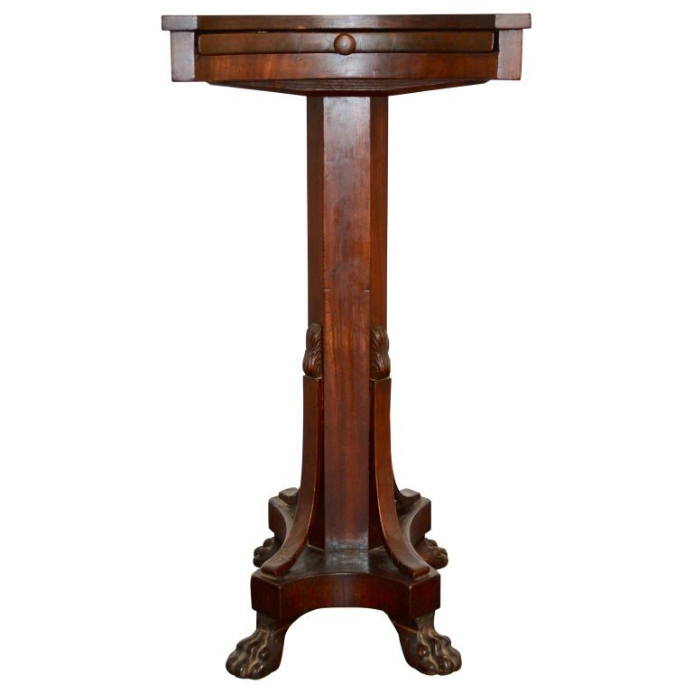 19th Century Regency Tea or Tobacco Table with Lion-feet and Brass Lined Drawer 3