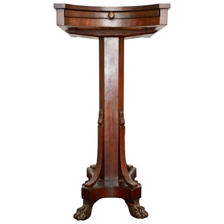 19th Century Regency Tea or Tobacco Table with Lion-feet and Brass Lined Drawer 4