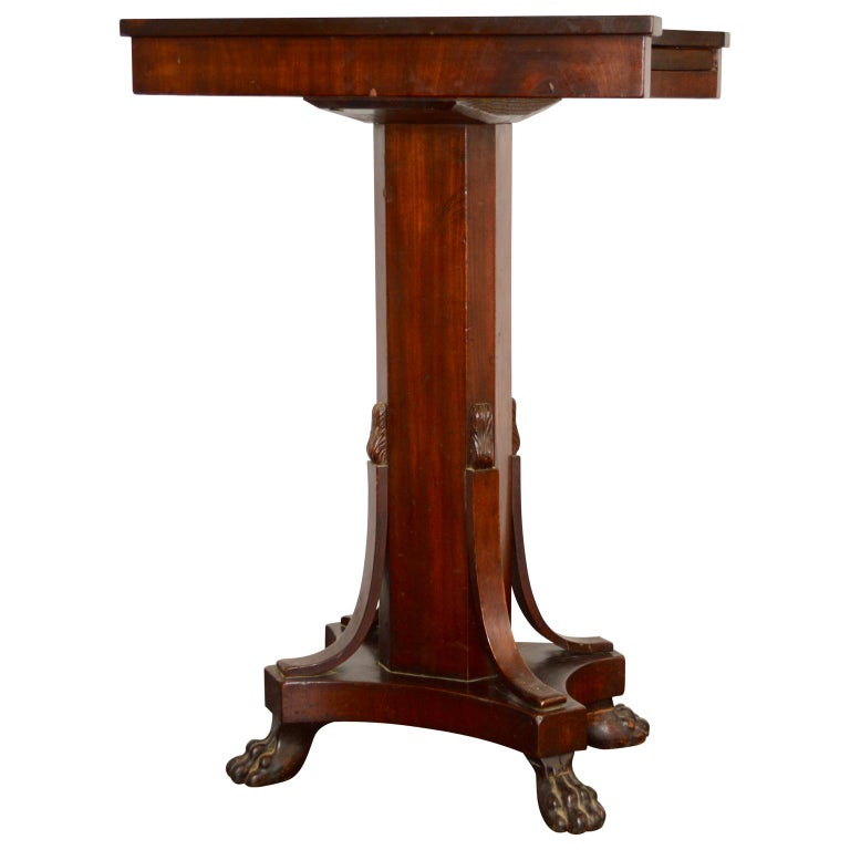 19th Century Regency Tea or Tobacco Table with Lion-feet and Brass Lined Drawer 5