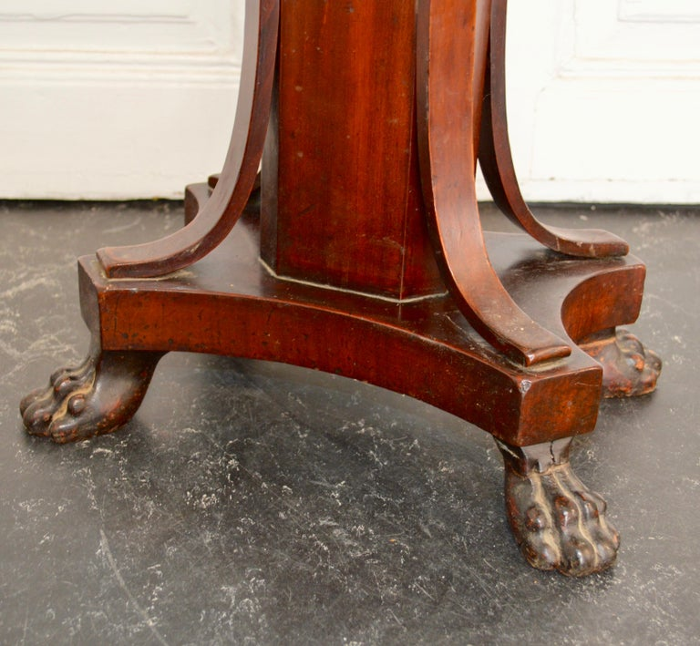 19th Century Regency Tea or Tobacco Table with Lion-feet and Brass Lined Drawer 8