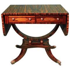 19th Century Regency Zebra Wood and Bronze English Sofa Table, 1890s