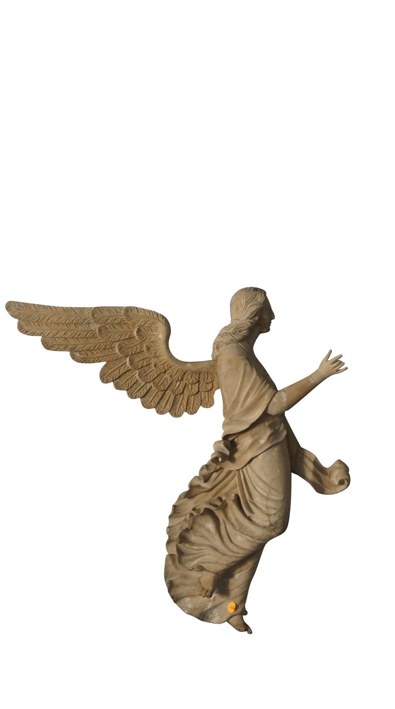 Hand-Carved 19th Century Italian Wooden Angels Relief, Antique Basswood Wall Decor For Sale