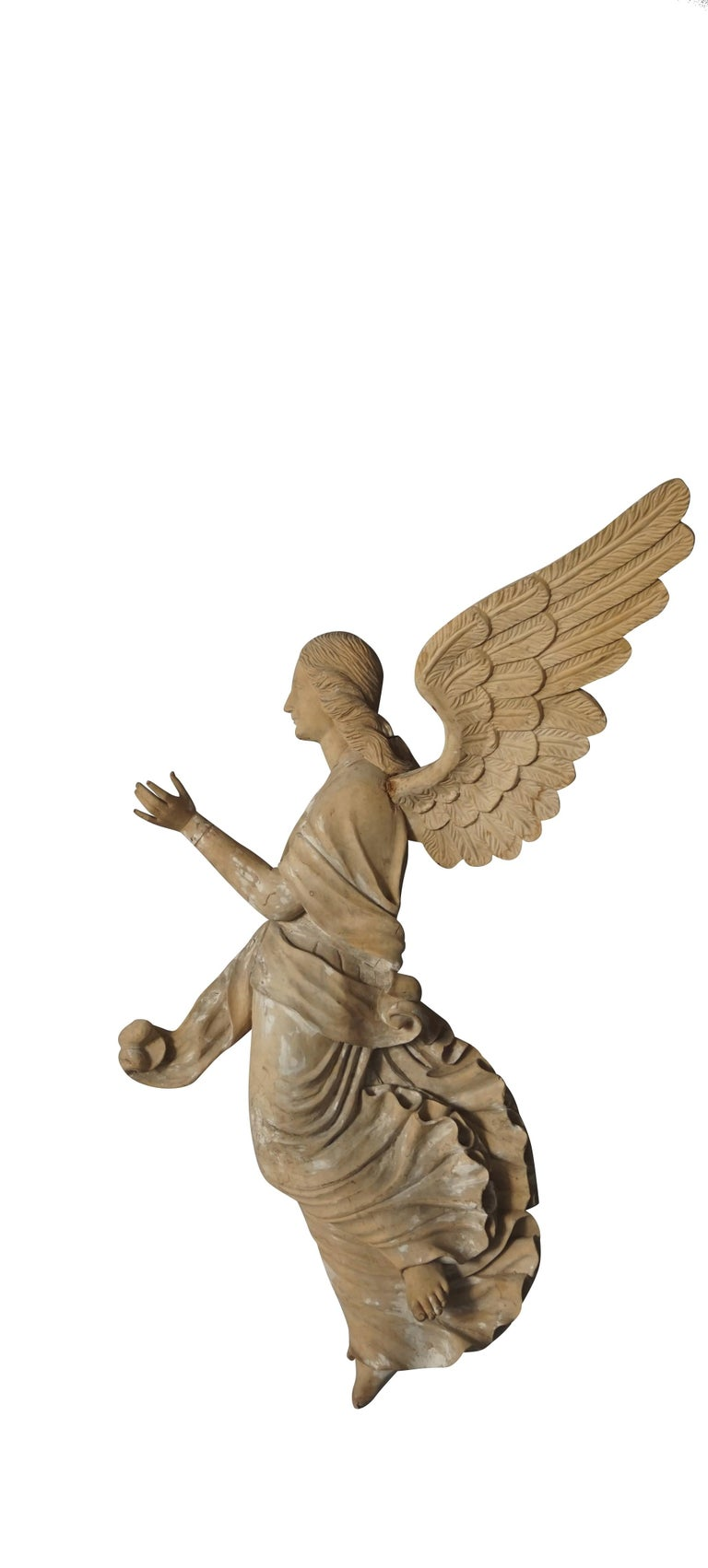 19th Century Italian Wooden Angels Relief, Antique Basswood Wall Decor In Good Condition For Sale In West Palm Beach, FL