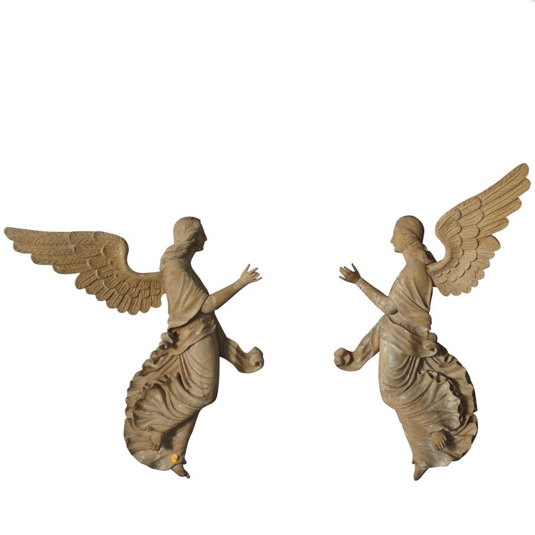 19th Century Relief Pair Of Wooden Angels
