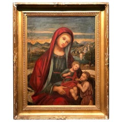 19th Century Religious Painting Madonna with Child and San Giovanni