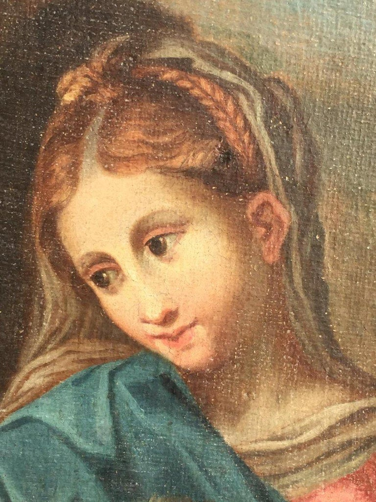 Canvas 19th Century Religious Painting of Italian School For Sale