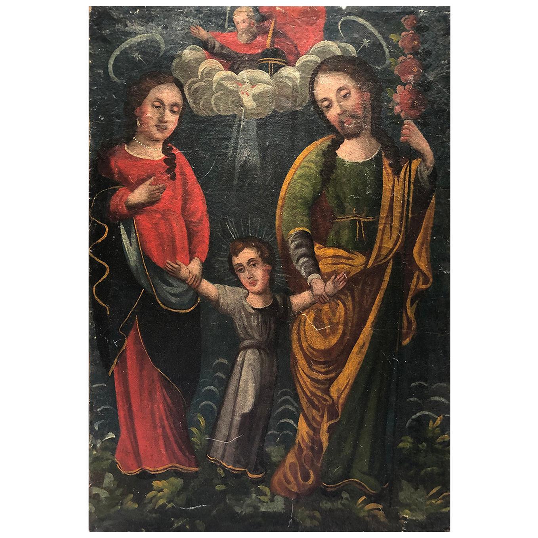 19th Century Religius Oil on Canvas