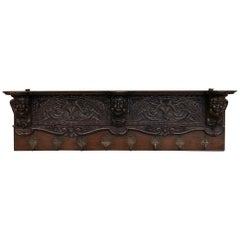 19th Century Renaissance Carved Oak Hat, Coat Rack