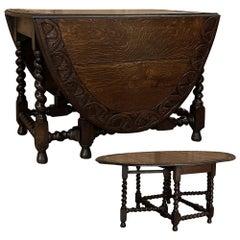 19th Century Renaissance Gate Leg Drop Leaf Barley Twist Table