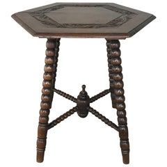 19th Century Renaissance Hexagonal End Table