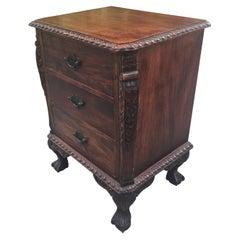 19th Century Renaissance Revival Carved Mahogany Three Drawer Nightstand