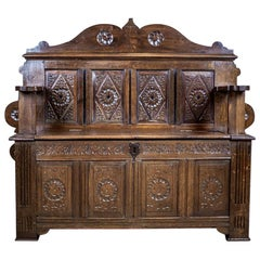 19th Century Renaissance Revival Oak Bench with a Storage Compartment