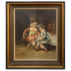 19th Century Renaissance Revival Period Framed Oil Painting on Board