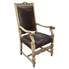 19th Century Renaissance Revival Stripped Oak Armchair