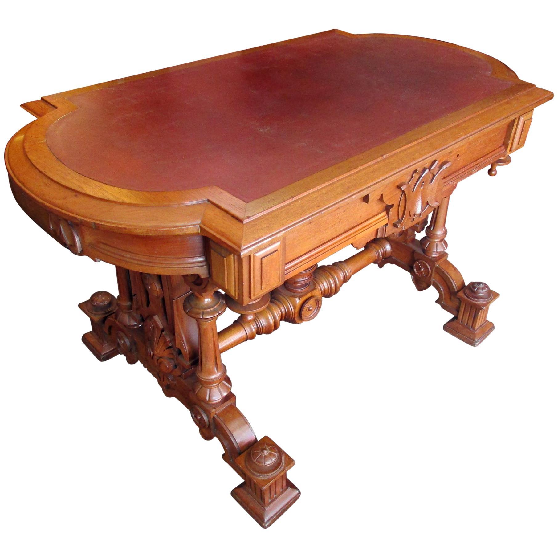 19th Century Renaissance Revival Desk Library Table