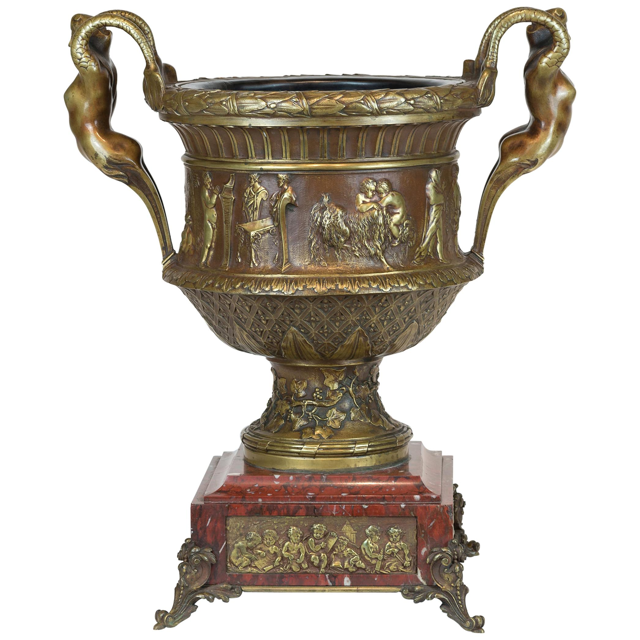 Renaissance Style Bronze Centrepiece Vase with Mermaid Handles