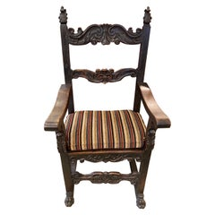 19th Century Renaissance Style Carved Wood Throne