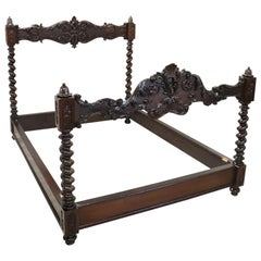19th Century Renaissance Style Italian Carved Walnut Antique Bed