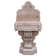 19th Century Renaissance Style Wall Fountain in Rosso Verona Marble