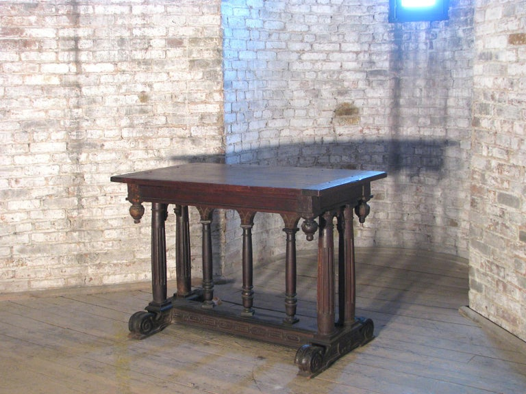 18th Century and Earlier 19th century Renaissance Style Walnut center Table For Sale