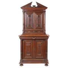 19th Century Renaissance Style Walnut Deux Corps Cabinet