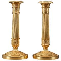 19th Century Restauration Gilt Bronze Candlesticks