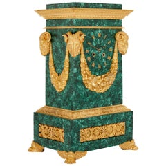 19th Century Restauration Period Malachite and Gilt Bronze Mantel Clock