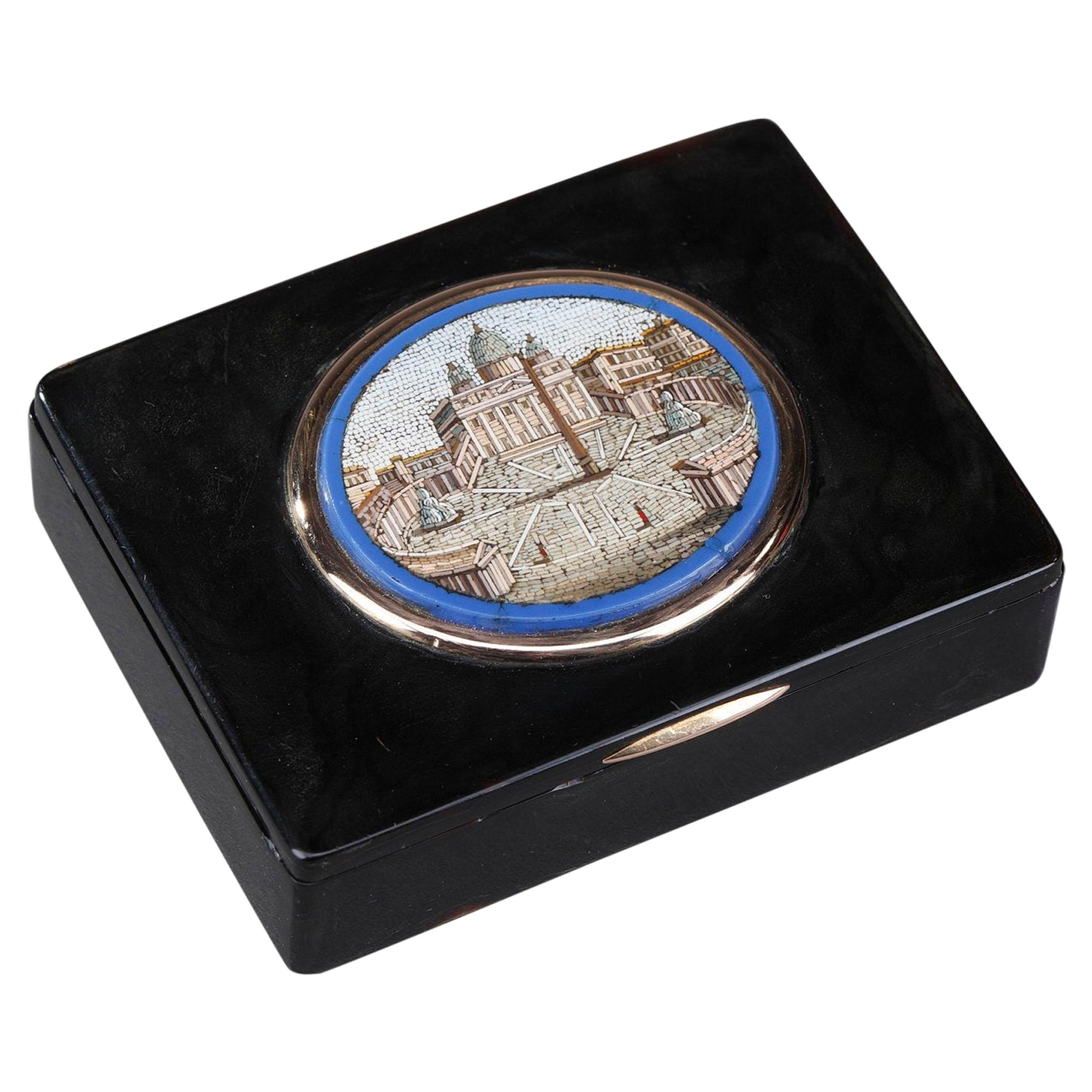 19th Century Restauration Snuff Box with Micromosaic