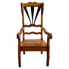 19th Century Restored Biedermeier Winged Arm Chair in Hardwood