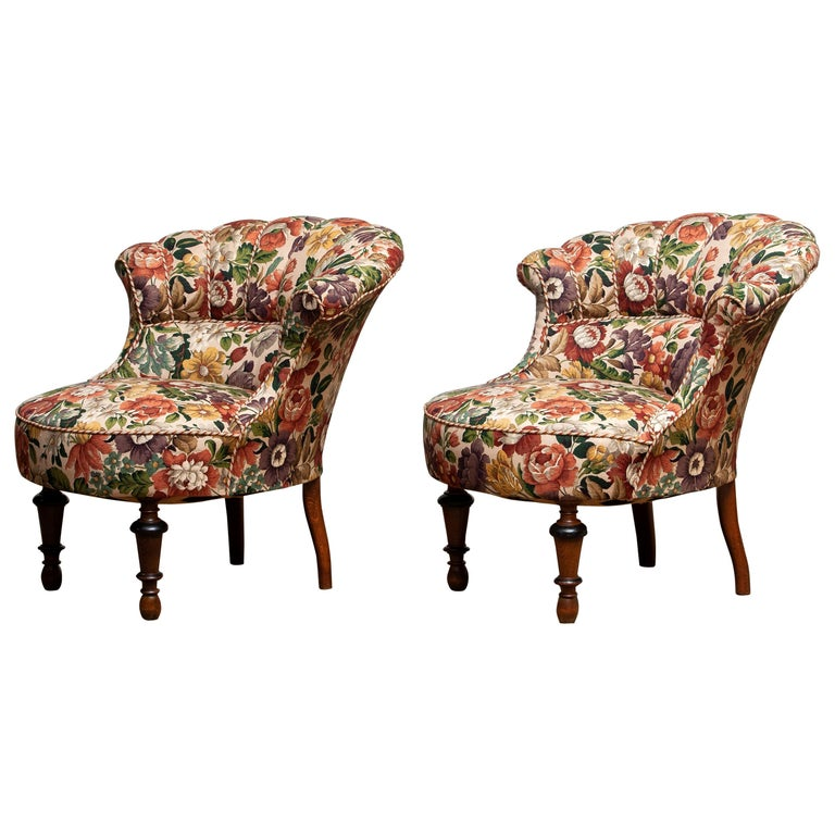 """19th Century """"Restored"""" Pair of French Floral Napoleon III Emma / Slipper Chairs"""