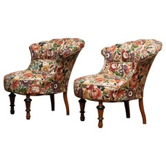 "19th Century ""Restored"" Pair of French Floral Napoleon III Emma / Slipper Chairs"