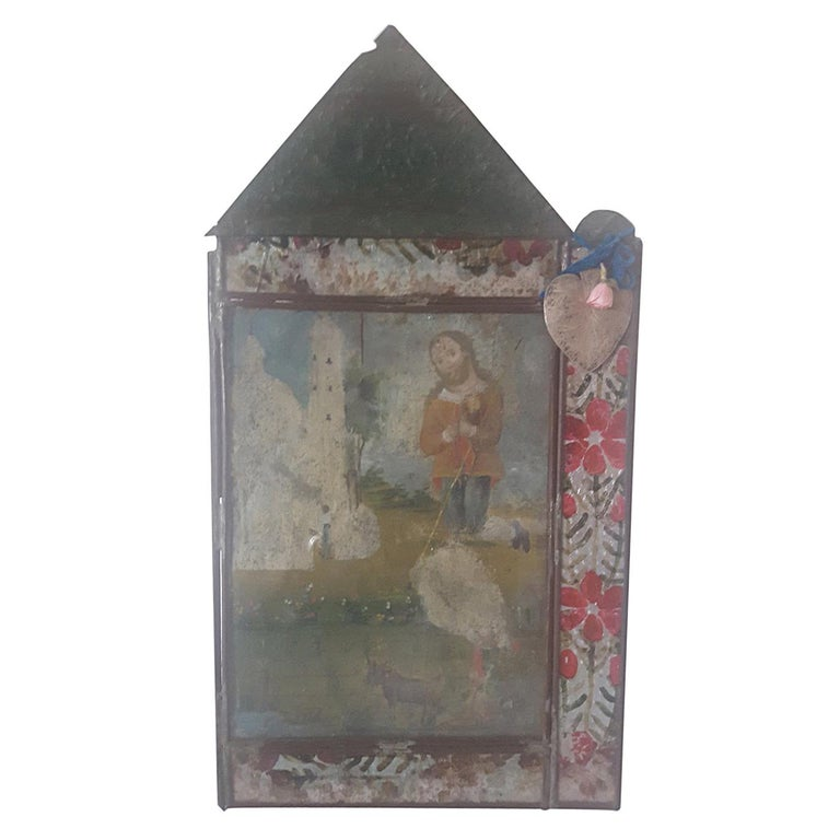 19th Century Retablo, St. Isidro Painted on Tin, in Original Embossed Tin Frame For Sale