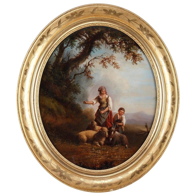 19th Century Reverse Glass Painting with Shepherds Signed Xerey For Sale