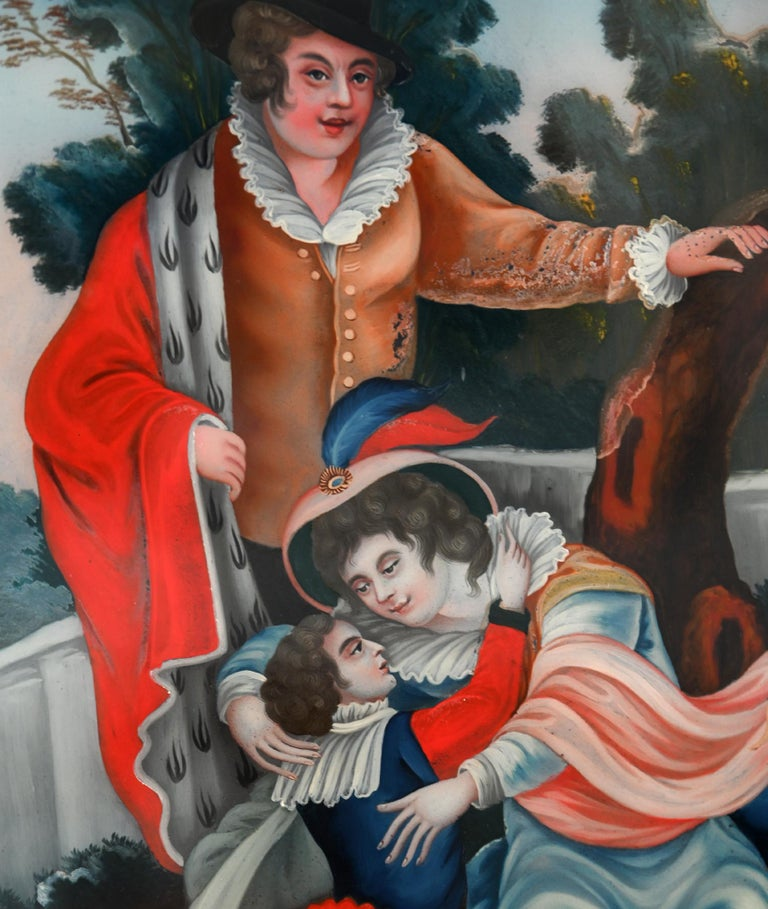 The reversed glass painting has been made circa 1800. The picture has beautiful colors and is in the original condition. The beautiful painting is also in the original frame.