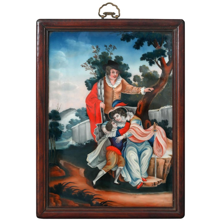 19th Century Reversed Glass Painting China for European Market Verre Eglomisé For Sale